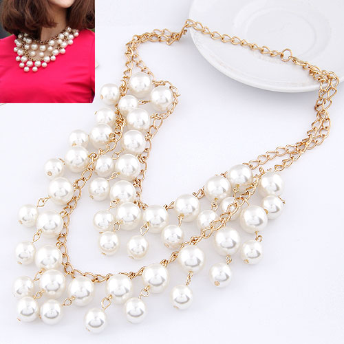 Buy Plastic Pearl Necklace Zinc Alloy ABS Plastic Pearl Round gold color plated twist oval chain white lead & cadmium free 400mm-600mm Sold Per Approx 15.75 Inch Strand
