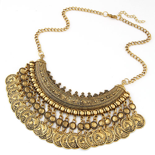 Buy Vintage Coin Statement Necklace Zinc Alloy 5cm extender chain Flat Round antique gold color plated twist oval chain lead & cadmium free 400mm Sold Per Approx 15.75 Inch Strand