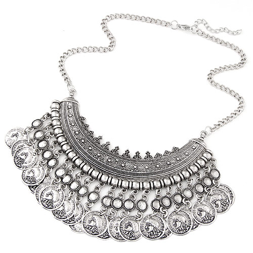 Buy Vintage Coin Statement Necklace Zinc Alloy antique silver color plated twist oval chain lead & cadmium free 400mm Sold Per Approx 15.75 Inch Strand