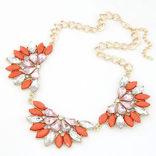 Buy Fashion Statement Necklace Zinc Alloy Resin gold color plated lead & cadmium free 400x200x44mm Sold Per Approx 15.75 Inch Strand