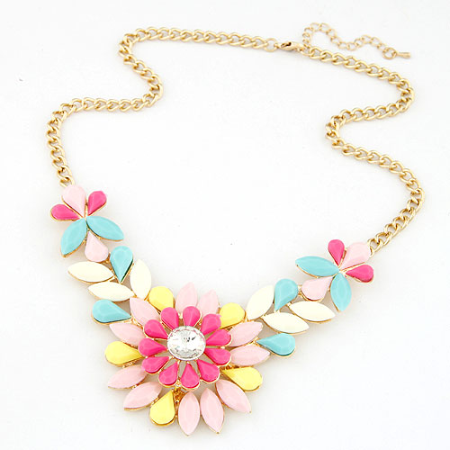 Buy Fashion Statement Necklace Zinc Alloy Resin Flower gold color plated twist oval chain multi-colored lead & cadmium free 400x108x50mm Sold Per Approx 15.75 Inch Strand