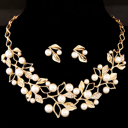 Buy Zinc Alloy Jewelry Sets earring & necklace ABS Plastic Pearl & Rhinestone Leaf gold color plated lead & cadmium free 400x150x40mm 22x18mm Length:Approx 15.75 Inch Sold Set