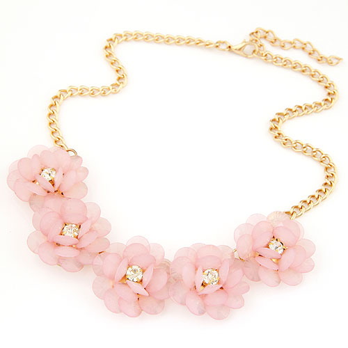 Buy Fashion Statement Necklace Zinc Alloy Resin Flower gold color plated lead & cadmium free 400x130x32mm Sold Per Approx 15.75 Inch Strand