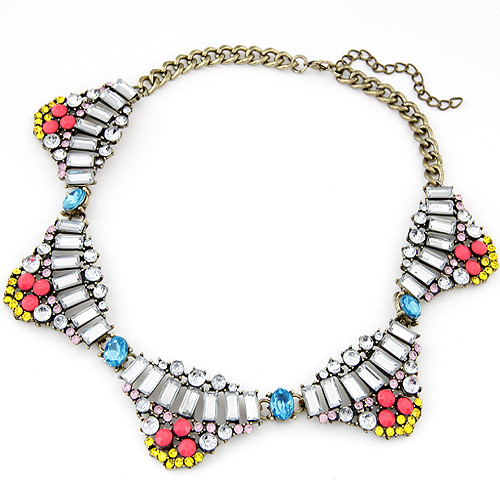 Buy Fashion Statement Necklace Zinc Alloy Resin antique bronze color plated twist oval chain multi-colored lead & cadmium free 400x35mm Sold Per Approx 15.75 Inch Strand
