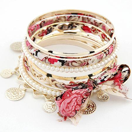 Zinklegierung Armreif -Set, mit ABS-Kunststoff-Perlen & Stoff, goldfarben plattiert, 5-litzig, frei von Blei & Kadmium, 78mm, Länge:ca. 9.5 ZollInch, 5PCs/setzen, verkauft von setzen