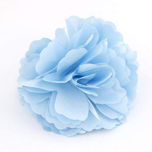 Blume Haarspange Brosche, Zinklegierung, mit Stoff, himmelblau, frei von Blei & Kadmium, 72x72mm, verkauft von PC
