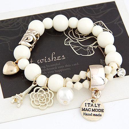 Harz Armbänder, Zinklegierung, mit Harz-Perle, rund, goldfarben plattiert, Armband  Bettelarmband, weiß, frei von Blei & Kadmium, 175mm, verkauft per ca. 6.89 ZollInch Strang