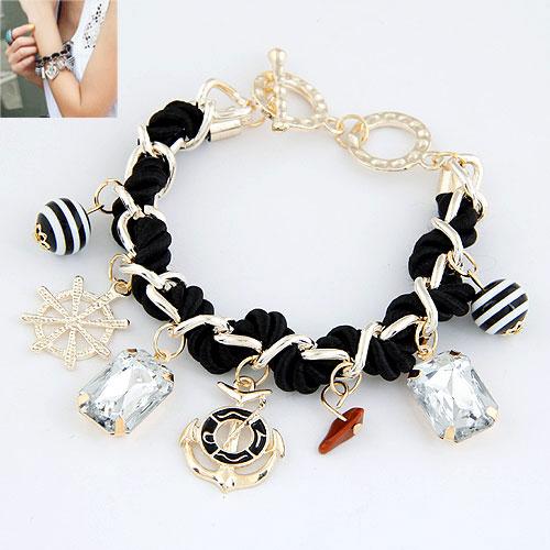 Kette gewebte Armbänder, Zinklegierung, mit Nylonschnur & Acryl, goldfarben plattiert, Armband  Bettelarmband, schwarz, frei von Blei & Kadmium, 190mm, verkauft per ca. 7.48 ZollInch Strang