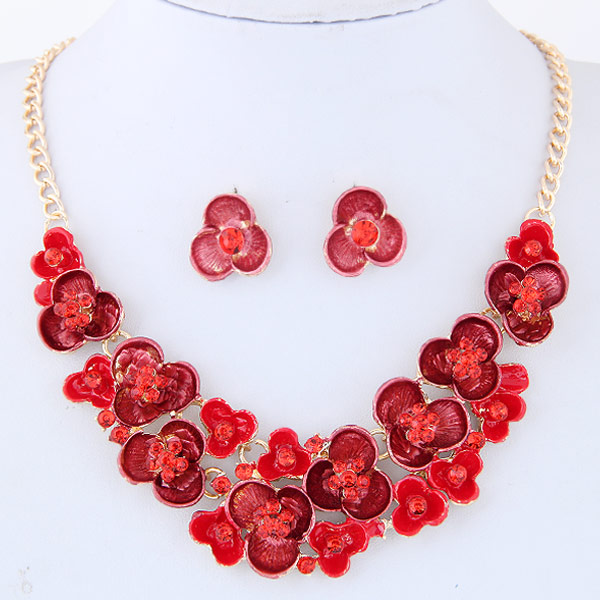Buy Rhinestone Jewelry Sets earring & necklace Zinc Alloy Rhinestone Flower gold color plated enamel red lead & cadmium free 400mm Length:Approx 15.75 Inch Sold Set