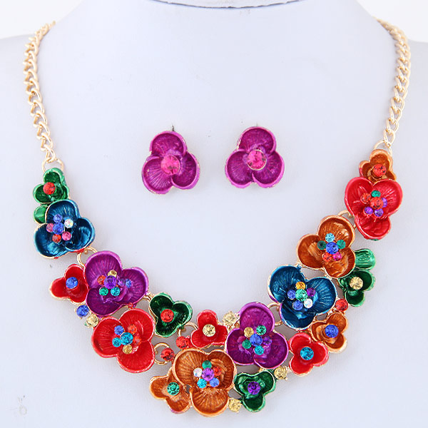 Buy Rhinestone Jewelry Sets earring & necklace Zinc Alloy Rhinestone Flower gold color plated enamel multi-colored lead & cadmium free 400mm Length:Approx 15.75 Inch Sold Set