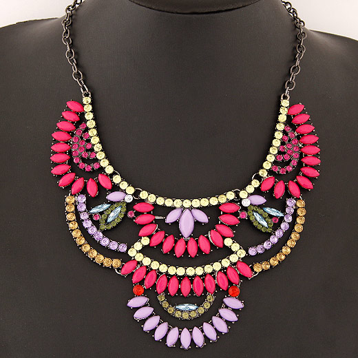 Buy Fashion Statement Necklace Zinc Alloy Resin Flower plumbum black color plated multi-colored lead & cadmium free 130x70mm Sold Per Approx 15.75 Inch Strand