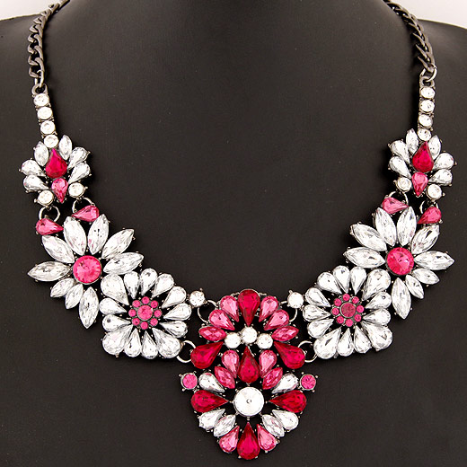 Buy Fashion Statement Necklace Zinc Alloy Resin Flower plumbum black color plated twist oval chain bright rosy red lead & cadmium free 150x58mm Sold Per Approx 15.75 Inch Strand