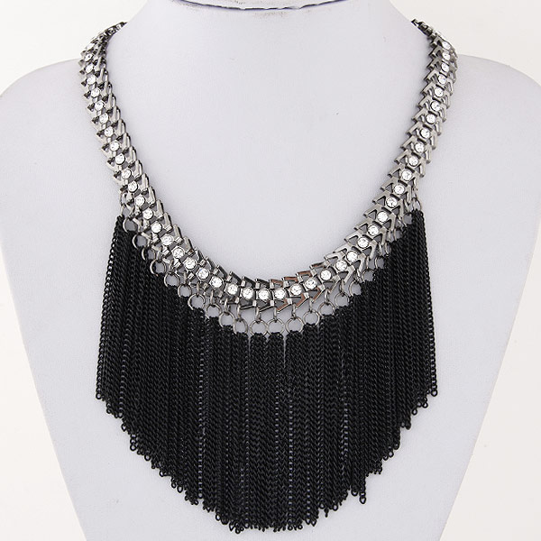 Buy Fashion Fringe Necklace Zinc Alloy iron chain 5cm extender chain Tassel plated rhinestone lead & cadmium free 400mm Sold Per Approx 15.75 Inch Strand
