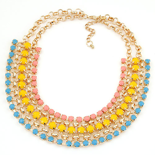 Buy Fashion Statement Necklace Zinc Alloy Resin 5cm extender chain gold color plated rolo chain & faceted multi-colored lead & cadmium free 400x180x35mm Sold Per Approx 15.75 Inch Strand