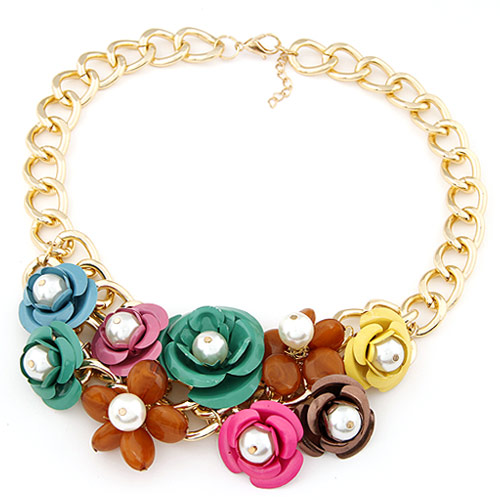 Buy Fashion Statement Necklace Zinc Alloy Resin Flower gold color plated twist oval chain multi-colored lead & cadmium free 400x140mm Sold Per Approx 15.75 Inch Strand
