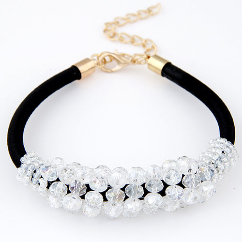 Buy Crystal Bracelets Silicone Crystal & Zinc Alloy 5cm extender chain gold color plated faceted clear 200x73x16mm Sold Per Approx 7.87 Inch Strand