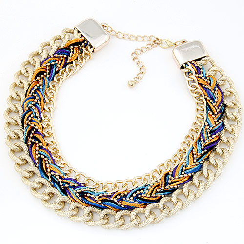 Buy Chain Woven Necklace Zinc Alloy Nylon Cord gold color plated multi-colored lead & cadmium free 400x32mm Sold Per Approx 15.75 Inch Strand