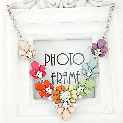 Buy Fashion Statement Necklace Zinc Alloy Resin Flower platinum color plated multi-colored lead & cadmium free 400x130x47mm Sold Per Approx 15.75 Inch Strand
