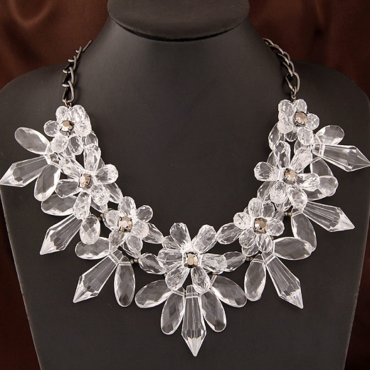 Buy Fashion Statement Necklace Zinc Alloy Acrylic Flower plumbum black color plated faceted lead & cadmium free 400x120x70mm Sold Per Approx 15.75 Inch Strand