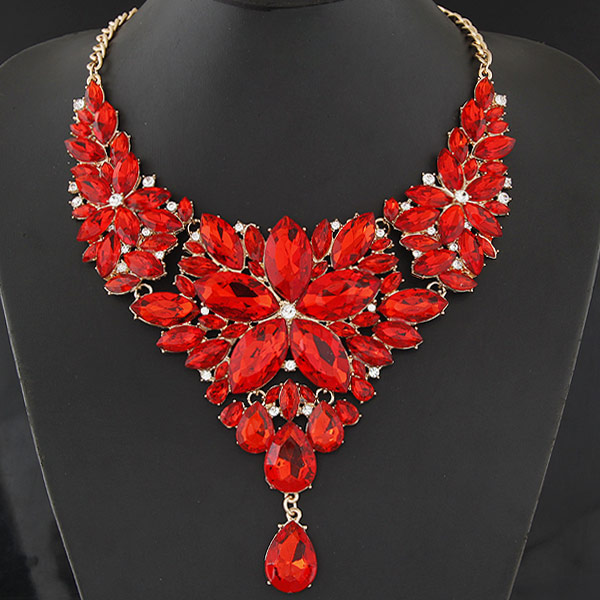 Buy Fashion Statement Necklace Zinc Alloy Resin Flower gold color plated red lead & cadmium free 400mm Sold Per Approx 15.75 Inch Strand