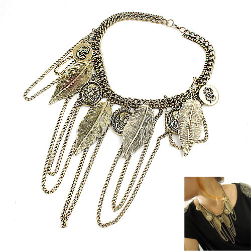 Zinc Alloy Jewelry Necklace Leaf antique bronze color plated lead & cadmium free 400mm Sold Per Approx 15.75 Inch Strand