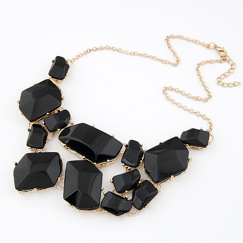 Buy Fashion Statement Necklace Zinc Alloy Resin gold color plated black lead & cadmium free 400x170x55mm Sold Per Approx 15.75 Inch Strand