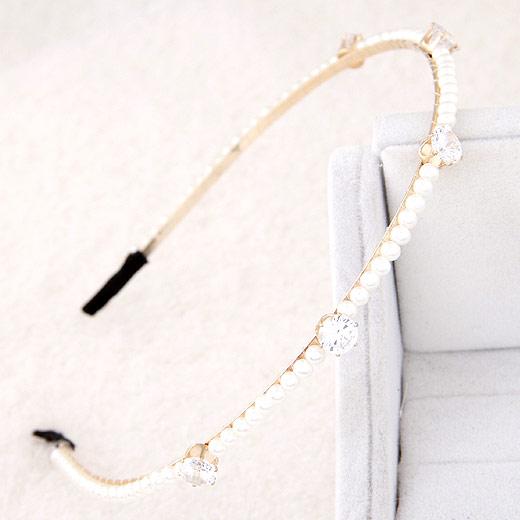 Haarreif, Zinklegierung, mit ABS-Kunststoff-Perlen & kubischer Zirkonia, goldfarben plattiert, weiß, frei von Blei & Kadmium, 140x130mm, verkauft von PC