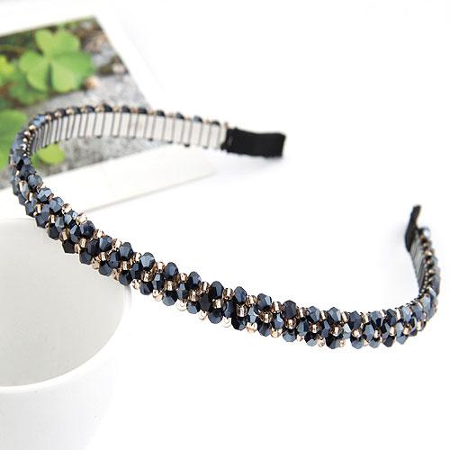 Haarreif, Zinklegierung, mit Kristall, frei von Blei & Kadmium, 145x125x8mm, verkauft von PC