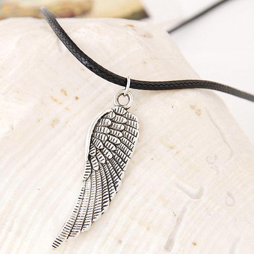 Gewachste Nylon Halsband, Zinklegierung, mit Gewachste Nylonschnur, Flügelform, antik silberfarben plattiert, frei von Blei & Kadmium, 420x48x14mm, verkauft per ca. 16.54 ZollInch Strang