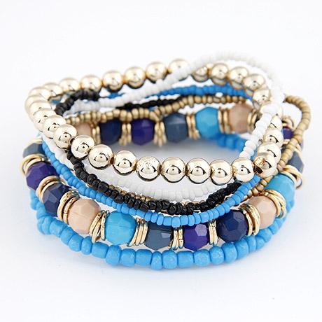 Zinklegierung Armband-Set, mit Glas-Rocailles & Acryl, rund, goldfarben plattiert, blau, frei von Blei & Kadmium, 170mm, Länge:ca. 6.69 ZollInch, 6SträngeStrang/setzen, verkauft von setzen