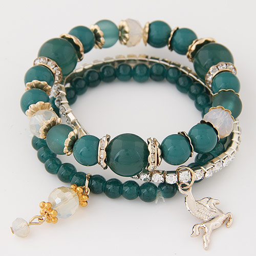 Harz Armbänder, Zinklegierung, mit Harz-Perle, goldfarben plattiert, Armband  Bettelarmband, grün, frei von Blei & Kadmium, 14mm, Länge:ca. 6.89 ZollInch, 3SträngeStrang/setzen, verkauft von setzen