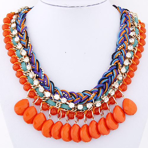 Buy Chain Woven Necklace Zinc Alloy Resin Teardrop gold color plated faceted reddish orange lead & cadmium free 400x130x50mm Sold Per Approx 15.75 Inch Strand