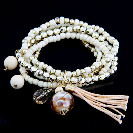 Buy Glass Beads Bracelet Zinc Alloy Glass Seed Beads Tassel plated charm bracelet white lead & cadmium free 170mm Length:Approx 6.69 Inch Sold Set