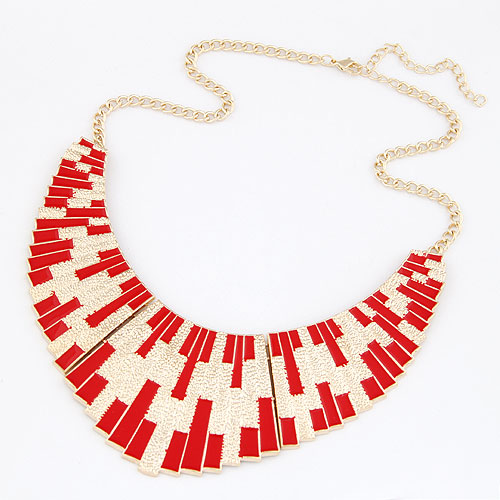 Buy Zinc Alloy Jewelry Necklace gold color plated twist oval chain & enamel red lead & cadmium free 400x140x53mm Sold Per Approx 15.75 Inch Strand