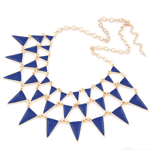 Buy Zinc Alloy Jewelry Necklace Triangle gold color plated oval chain & enamel blue lead & cadmium free 400x180x65mm Sold Per Approx 15.75 Inch Strand