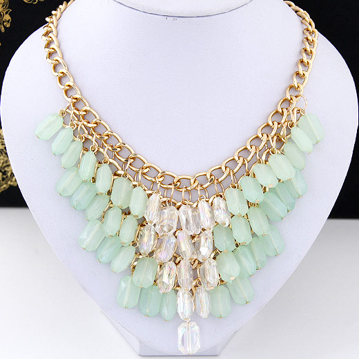 Buy Fashion Statement Necklace Zinc Alloy Resin gold color plated faceted lead & cadmium free 400x130x85mm Sold Per Approx 15.75 Inch Strand