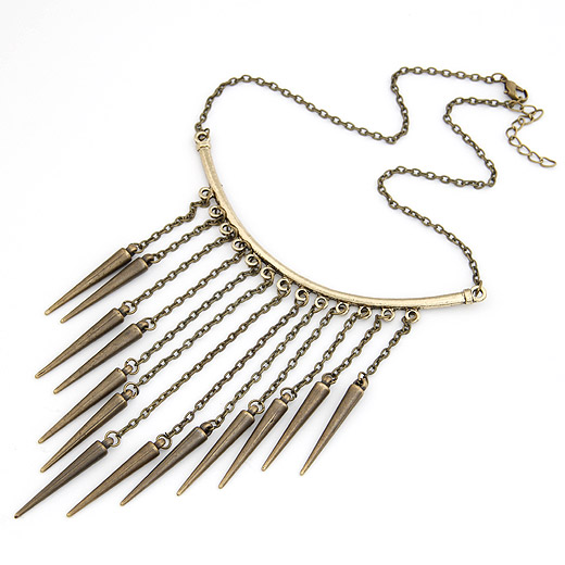 Buy Zinc Alloy Jewelry Necklace Spike antique bronze color plated twist oval chain lead & cadmium free 400x100mm Sold Per Approx 15.75 Inch Strand
