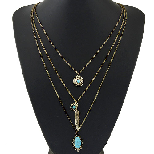 Buy Multi Layer Necklace Zinc Alloy Resin antique bronze color plated oval chain & 3-strand lead & cadmium free 500x18mm Sold Per Approx 19.69 Inch Strand