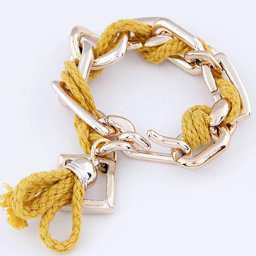 Verkupferter Kunststoff Armbänder, mit Wolle, goldfarben plattiert, gelb, frei von Blei & Kadmium, 200mm, verkauft per ca. 7.87 ZollInch Strang