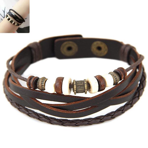 PU Schnur Armbänder, Zinklegierung, mit PU Leder & Holz, antike Bronzefarbe plattiert, frei von Blei & Kadmium, 180mm, verkauft per ca. 7.09 ZollInch Strang
