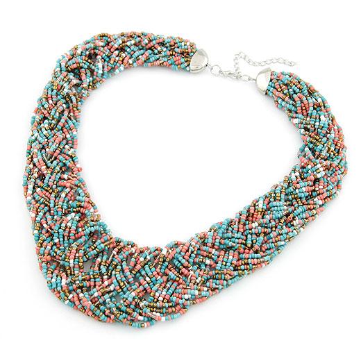 Glasperlen -Halsketten-, Zinklegierung, mit Glas-Rocailles, Platinfarbe platiniert, Kumihimo, farbenfroh, frei von Blei & Kadmium, 400x36mm, verkauft per ca. 15.75 ZollInch Strang