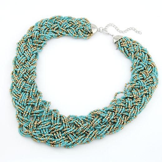 Glasperlen -Halsketten-, Zinklegierung, mit Glas-Rocailles, Platinfarbe platiniert, Kumihimo, blau, frei von Blei & Kadmium, 400x36mm, verkauft per ca. 15.75 ZollInch Strang