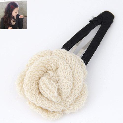 Klick Klack Spange, Zinklegierung, mit Wolle, Blume, Platinfarbe platiniert, frei von Blei & Kadmium, 100x48mm, verkauft von PC