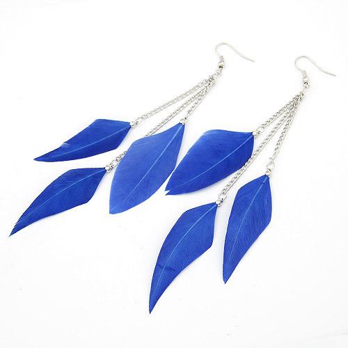 Mode-Feder-Ohrring, Zinklegierung, mit Feder, Federn, Platinfarbe platiniert, blau, frei von Blei & Kadmium, 120mm, verkauft von PC