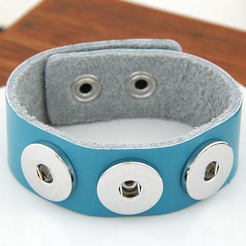 Snap-Knopf-Armband, Zinklegierung, mit Kuhhaut, Platinfarbe platiniert, hellblau, frei von Blei & Kadmium, 180x24mm, verkauft per ca. 7 ZollInch Strang