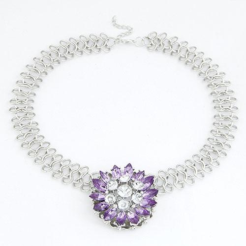 Mode Statement Halskette, Zinklegierung, Blume, Platinfarbe platiniert, mit Strass, violett, frei von Blei & Kadmium, 47mm, verkauft per ca. 15.75 ZollInch Strang