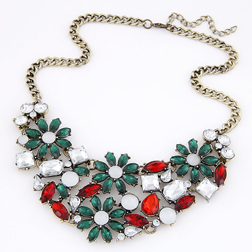 Buy Fashion Statement Necklace Zinc Alloy Resin Flower antique bronze color plated multi-colored lead & cadmium free 400mm Sold Per Approx 15.75 Inch Strand