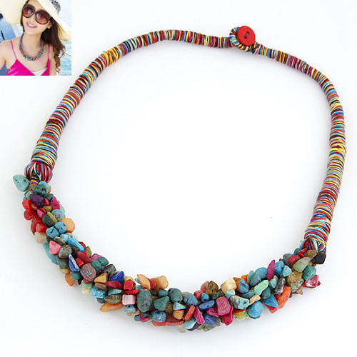 Buy Natural Gemstone Necklace Wool multi-colored 400x180x18mm Sold Per Approx 15.75 Inch Strand
