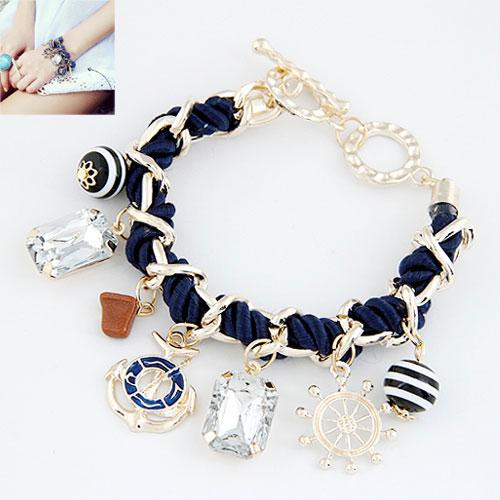 Kette gewebte Armbänder, Zinklegierung, mit Nylonschnur & Acryl, goldfarben plattiert, Armband  Bettelarmband & facettierte, tiefblau, frei von Blei & Kadmium, 190mm, verkauft per ca. 7.48 ZollInch Strang
