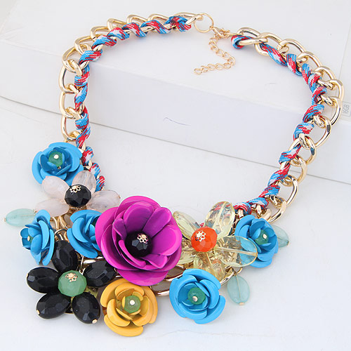 Buy Fashion Statement Necklace Zinc Alloy Nylon Cord & Acrylic Flower gold color plated twist oval chain multi-colored lead & cadmium free 400x120x80mm Sold Per Approx 15.75 Inch Strand